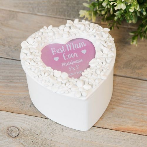White Heart Shape Trinket Box With Photo Frame To Lid